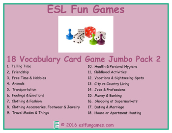 Vocabulary Card games Jumbo Pack 2 Game Bundle