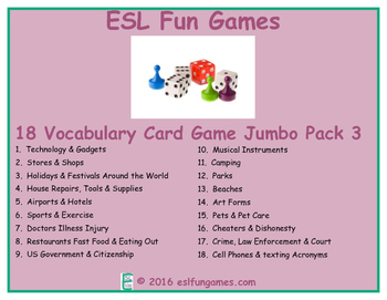 Vocabulary Card games Jumbo Pack 3 Game Bundle
