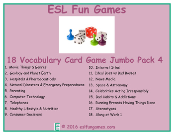 Vocabulary Card games Jumbo Pack 4 Game Bundle