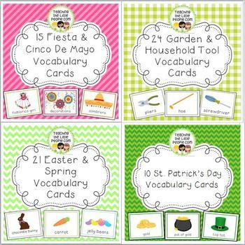Vocabulary Cards Bundle for Preschool & Kinder Set 1: Spring through Summer
