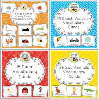 Vocabulary Cards Bundle for Preschool & Kinder Set 1: Spring through Summer