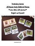 Vocabulary Cards (English and Spanish) in 28 Early Childhood Themes