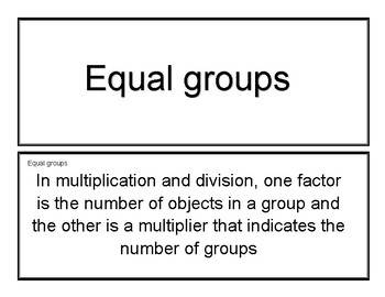 Vocabulary Cards Eureka Math  Grade 3 Module 1