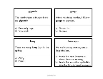 Vocabulary Cards - Fifth Grade