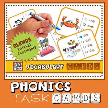 Phonics Multiple Choice Task Cards (Initial Consonant Blends) LEVEL 2A
