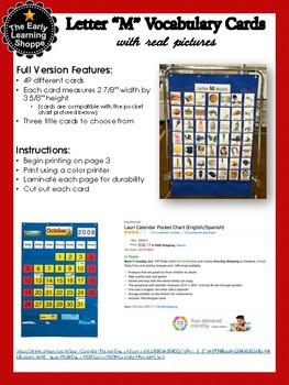 Vocabulary Cards Letter M (49 Cards) with Real Pictures