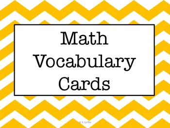 Vocabulary Cards-Math Terms