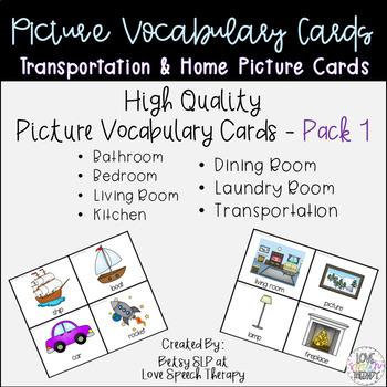 Vocabulary Cards PACK 1- Transportation & Home