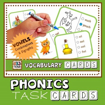 Phonics Multiple Choice Task Cards (Vowel Combinations) LEVEL 3