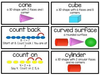 Vocabulary Cards for 1st Grade Go Math!