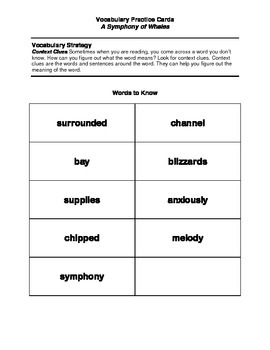 "Vocabulary Cards for ""A Symphony of Whales"""