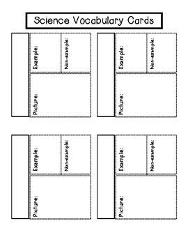 Vocabulary Cards for Interactive Notebooks