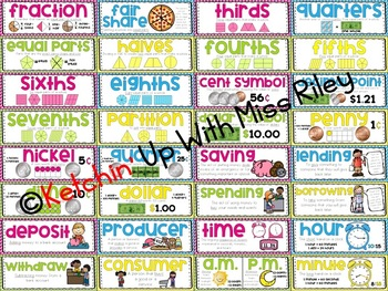 Vocabulary Cards for Math Word Wall
