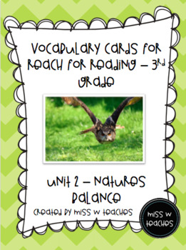 Vocabulary Cards for Reach for Reading - 3rd Grade (Unit 2)