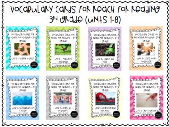 Vocabulary Cards for Reach for Reading - 3rd Grade (Units 1-8)