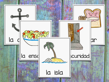 Vocabulary Cards for Spanish Indirect Syllables - Banco de Palabras