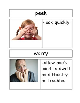 Vocabulary Cards for Wemberly Worried by Kevin Henkes