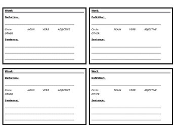 Vocabulary Cards for Word Walls
