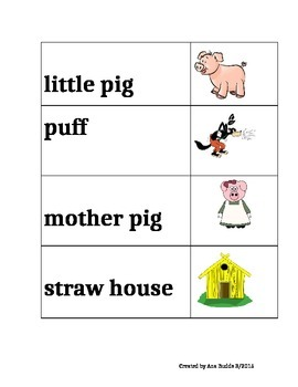Vocabulary Cards for the fairy tale The Three Little Pigs