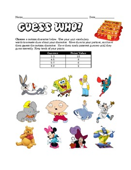 Vocabulary Cartoon Guess Who