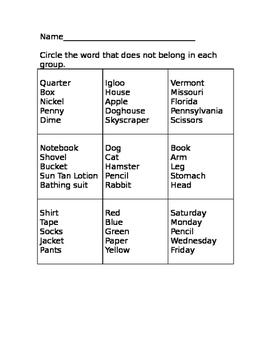 Vocabulary Categories