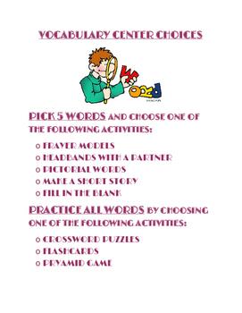Vocabulary Center Poster