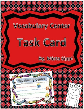 Vocabulary Center Task Card