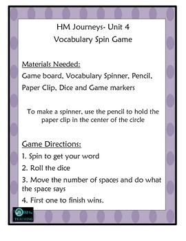 Vocabulary Center Unit 4 HM Journeys Florida 4th Grade