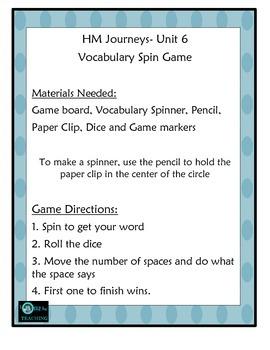 Vocabulary Center Unit 6 HM Journeys Florida 4th Grade
