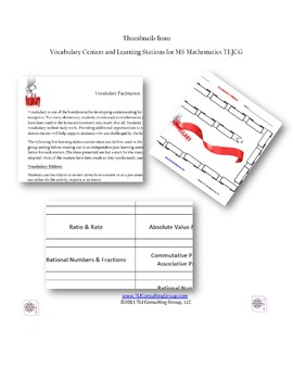Vocabulary Centers and Learning Stations for MS Mathematics