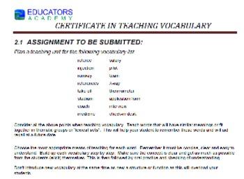Vocabulary Certificate