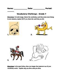 Vocabulary Challenge 7th Grade
