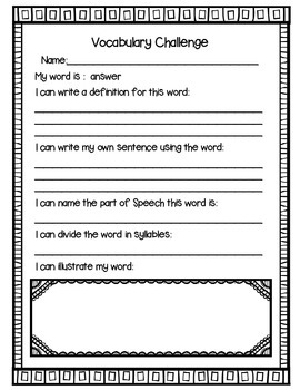 Vocabulary Challenge {Word Work for Second Grade}