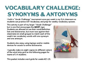 Vocabulary Challenge: Synonyms & Antonyms #21-25 Pack