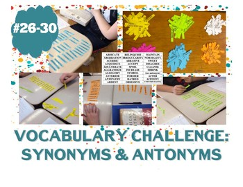 Vocabulary Challenge: Synonyms & Antonyms #26-30 Pack