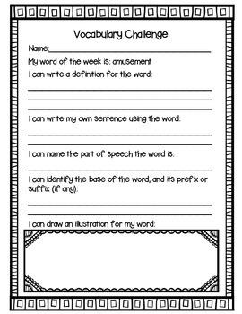 Vocabulary Challenge {Word Work for Third Grade}
