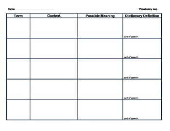 Vocabulary Chart - Constructing Meaning from Context