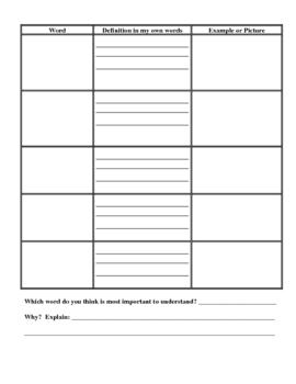 Vocabulary Chart, Worksheet, Graphic Organizer