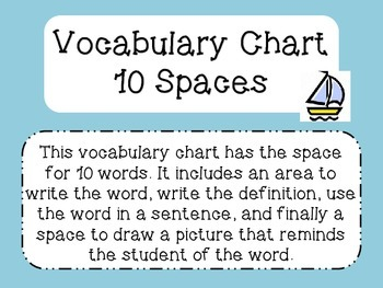 Vocabulary Chart with 10 spaces