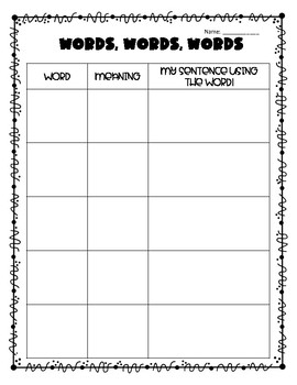 Vocabulary Charts - 4 styles