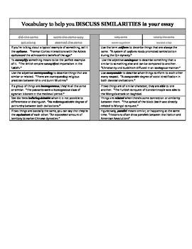 Vocabulary Cheat Sheet to Discuss Similarities