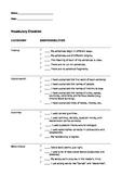 Vocabulary Checklist/Rubric