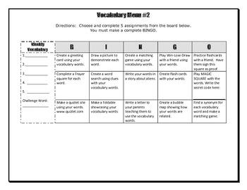Vocabulary Choice Board #2