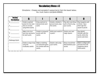 Vocabulary Choice Board #3