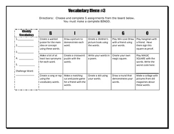Vocabulary Choice Board #3