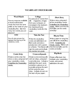 Vocabulary Choice Board- Use for any novel or short story!