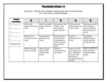 Vocabulary Choice Board #4