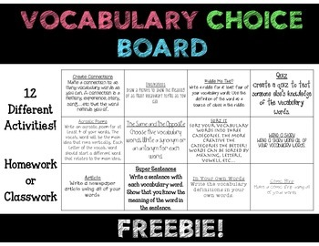 Vocabulary Choice Board {FREEBIE}