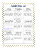 Vocabulary Choice Board--Options for Vocabulary Homework