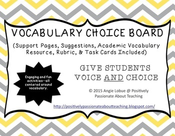 Vocabulary Choice Board (Support Pages & Task Cards Included)